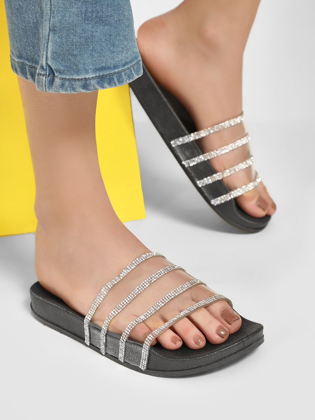 No Doubt Black Diamante Embellished Clear Strap Sliders 1
