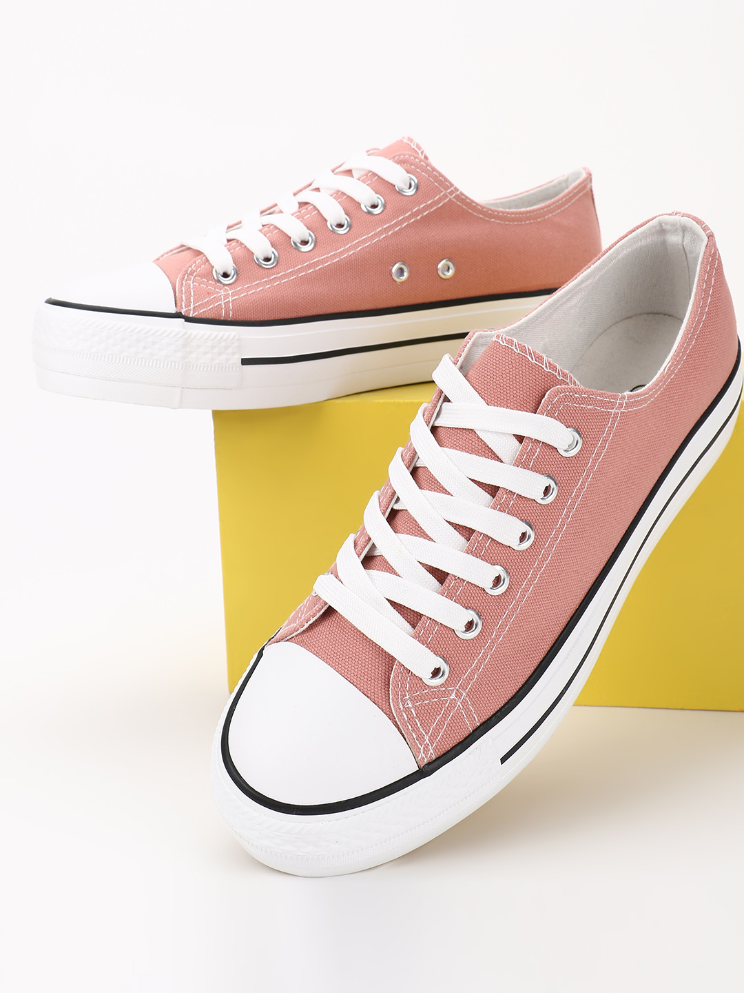 No Doubt Pink Casual Lace Up Sneakers 1