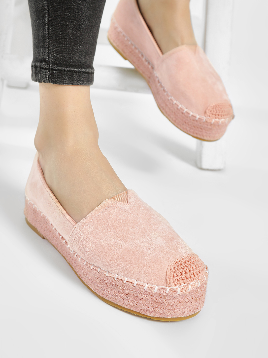 No Doubt Pink Suede Stacked Espadrilles 1