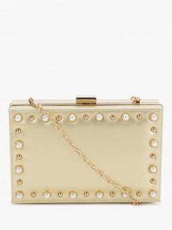 Origami Lily Pearl Embellished Metallic Box Clutch