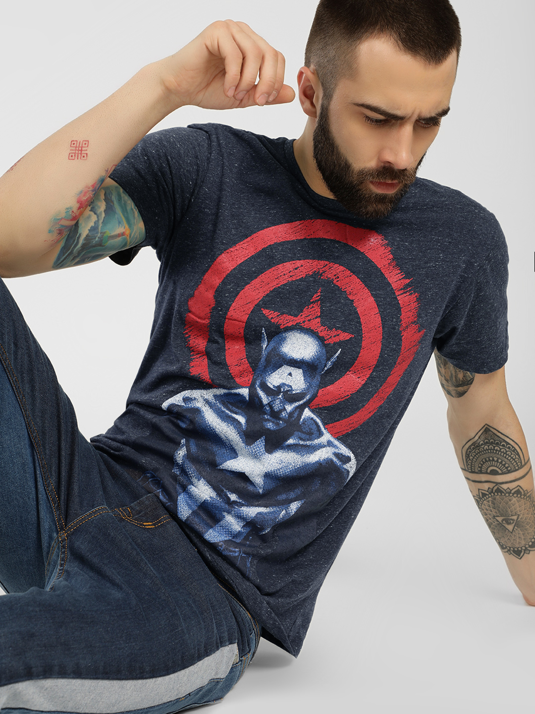 Free Authority Blue Captain America Knitted T-Shirt 1