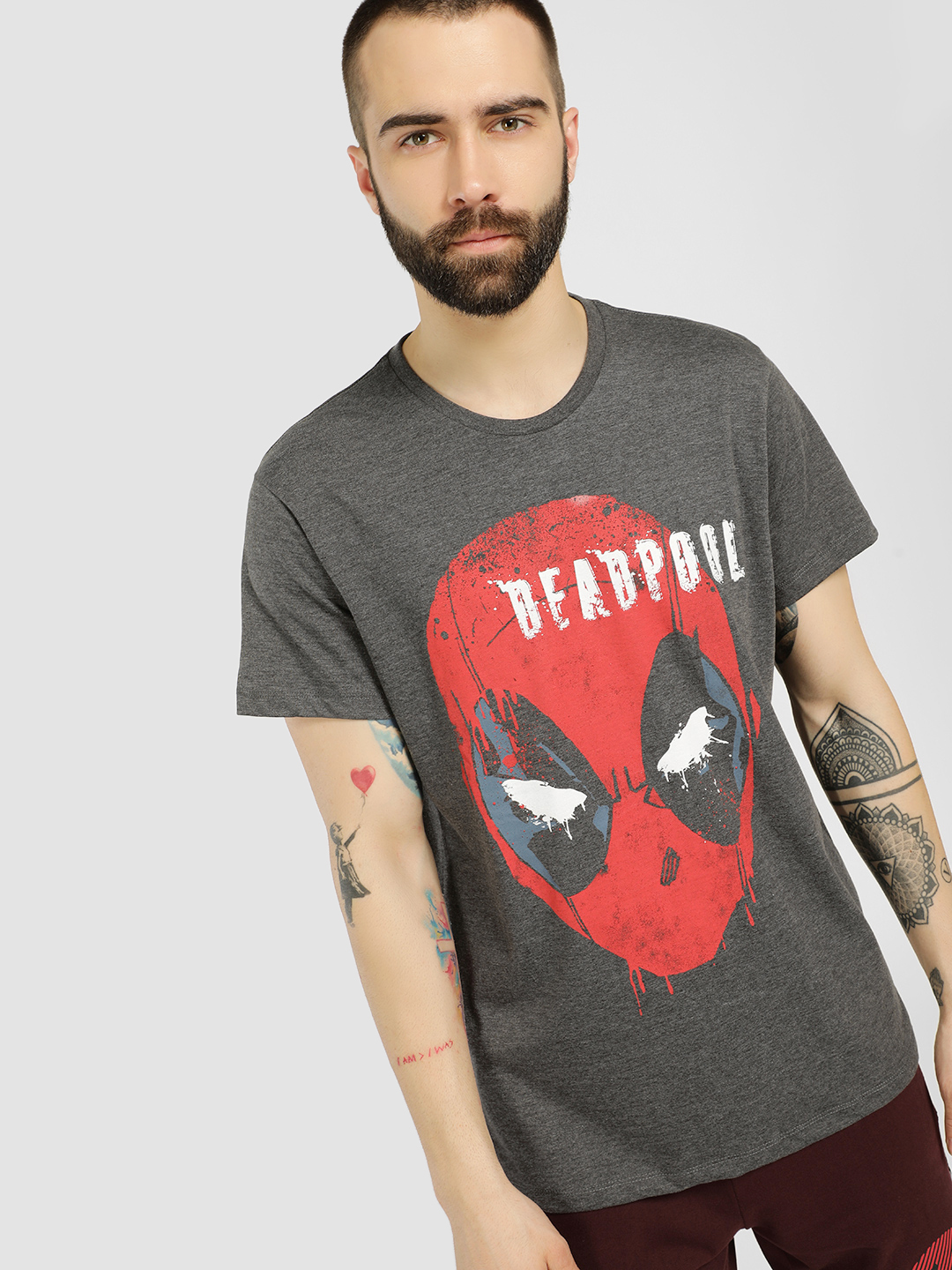 Free Authority Grey Deadpool Placement Print T-Shirt 1