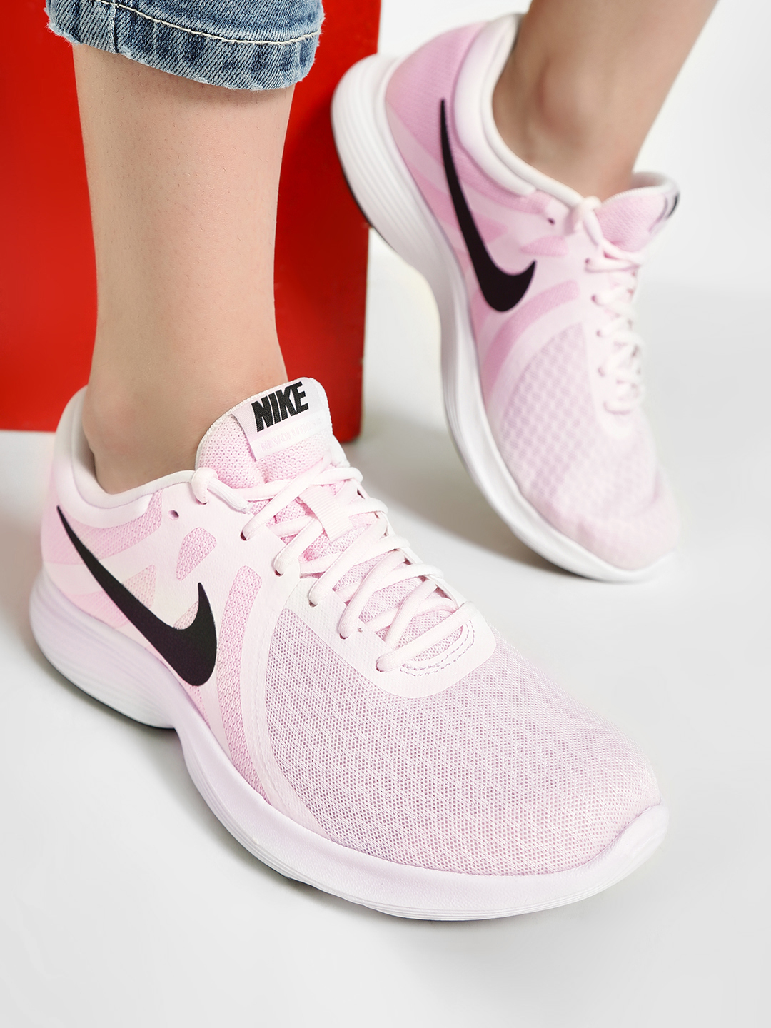 Nike Pink Revolution 4 Running Shoes 1