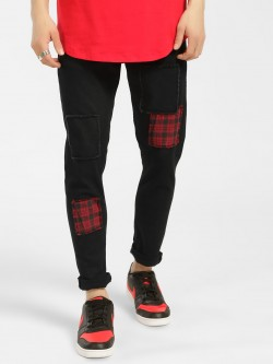K Denim KOOVS Tartan Patch Skinny Jeans
