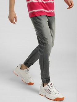 K Denim KOOVS Light Wash Distressed Denim Joggers
