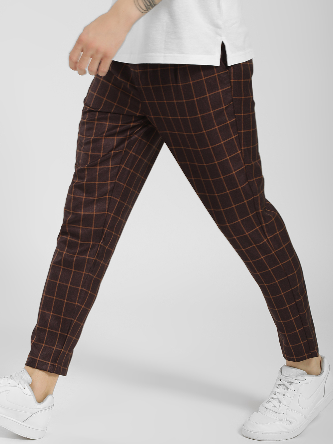 KOOVS Multi Windowpane Check Drop Crotch Trousers 1