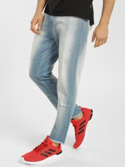 K Denim KOOVS Light Wash Cut-And-Sew Slim Jeans