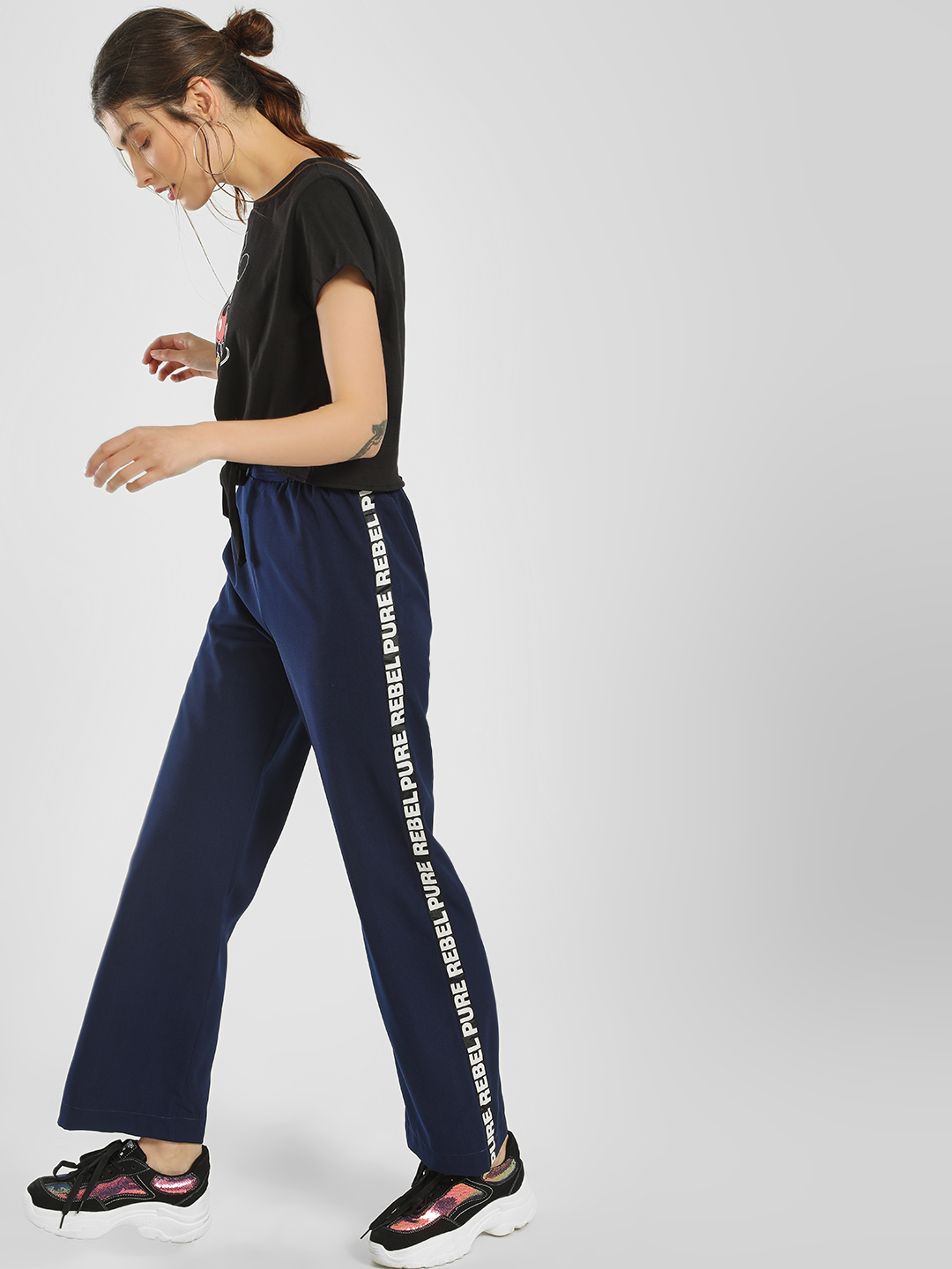 KOOVS Navy Text Side Tape Flared Trousers 1