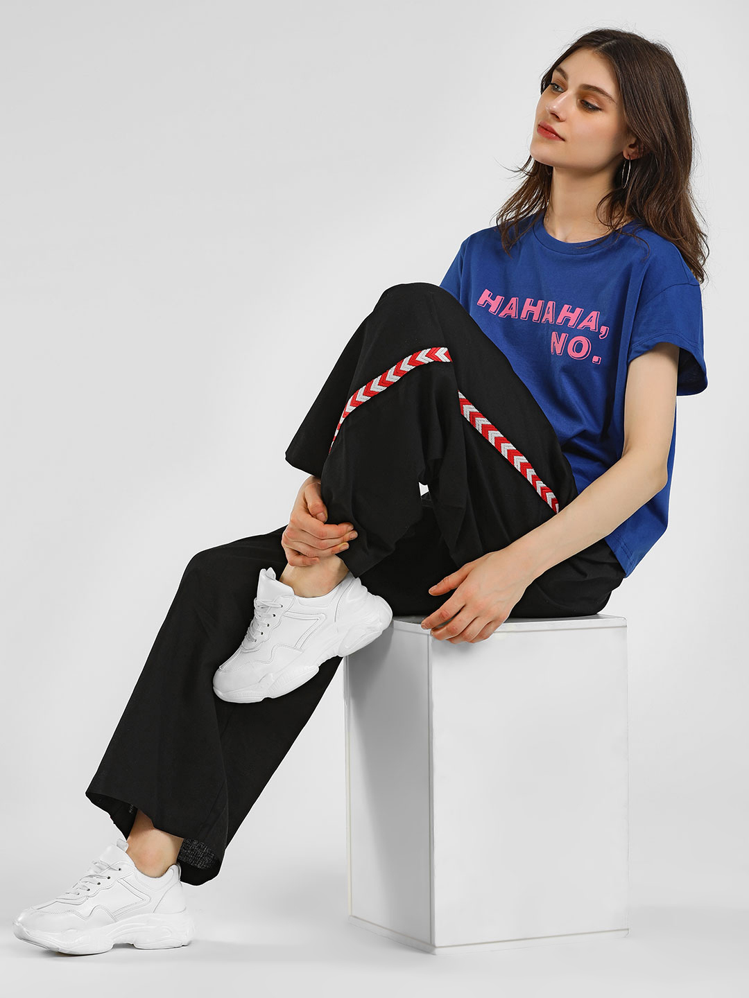 Rena Love Black Side Embroidered Tape Palazzo Pants 1