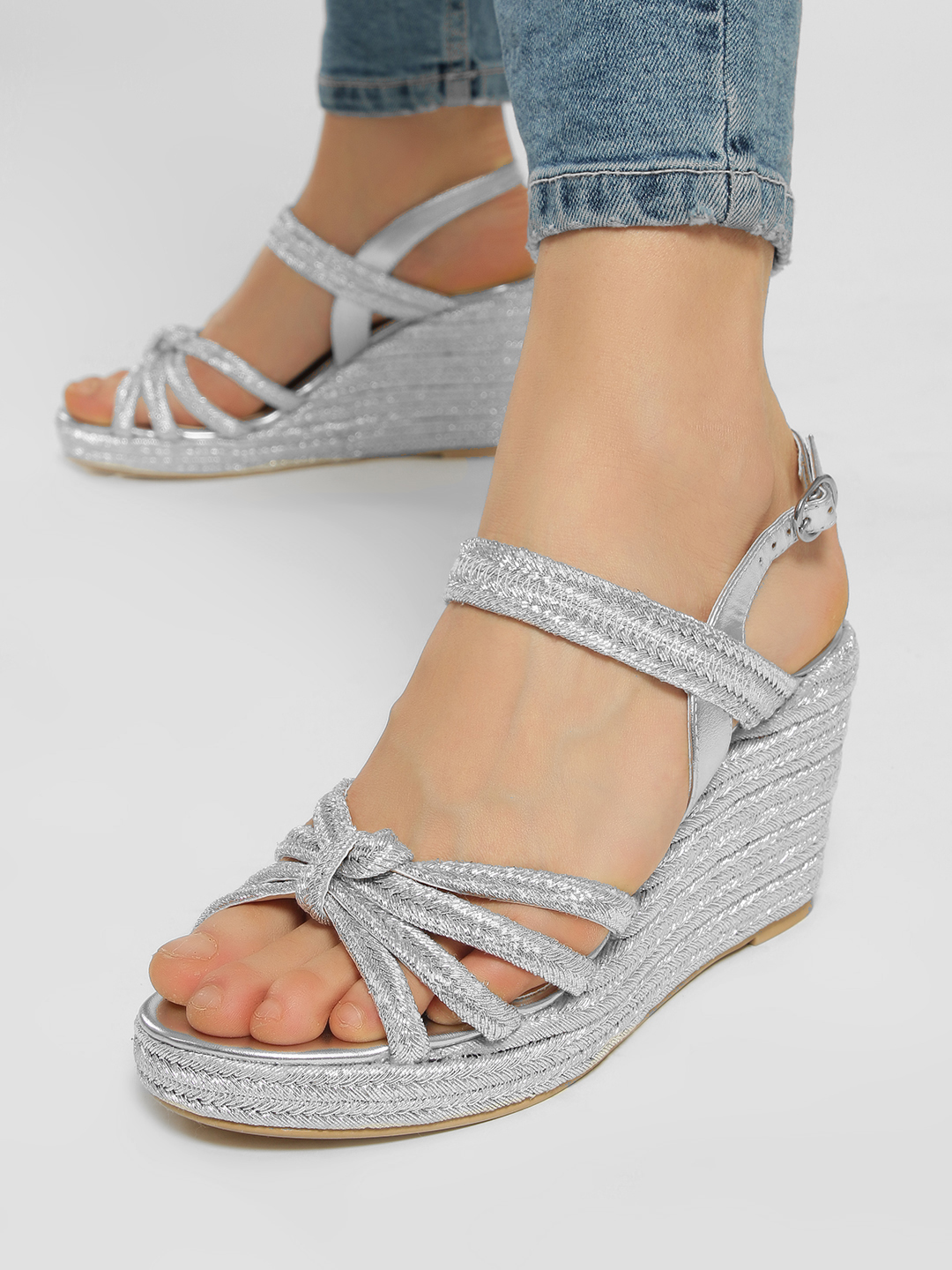 KOOVS Silver Metallic Multi-Strap Wedges 1