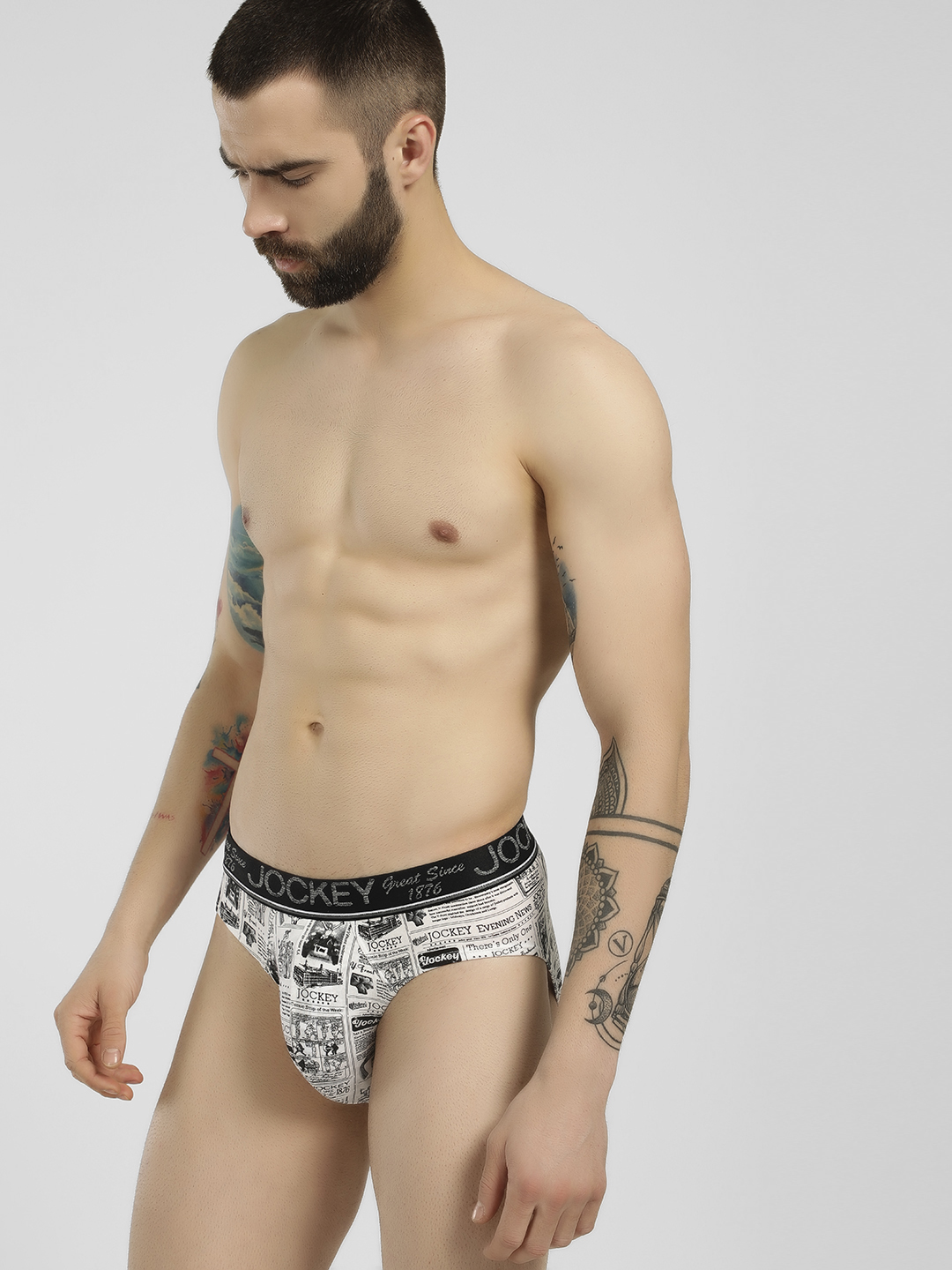 Jockey White All Over Newspaper Print Briefs 1