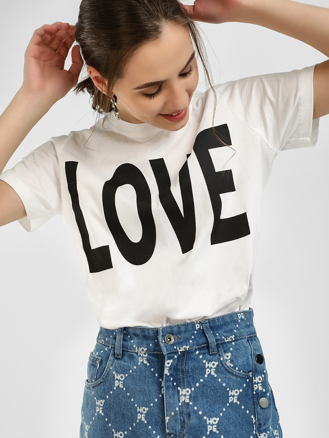 KOOVS White Love Print T-Shirt 1