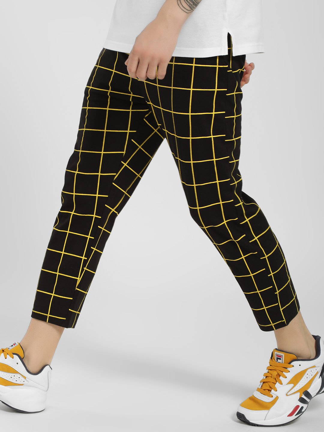 KOOVS Black Windowpane Check Cropped Joggers 1