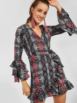 Foreva Young Snake Print Wrap Shift Dress
