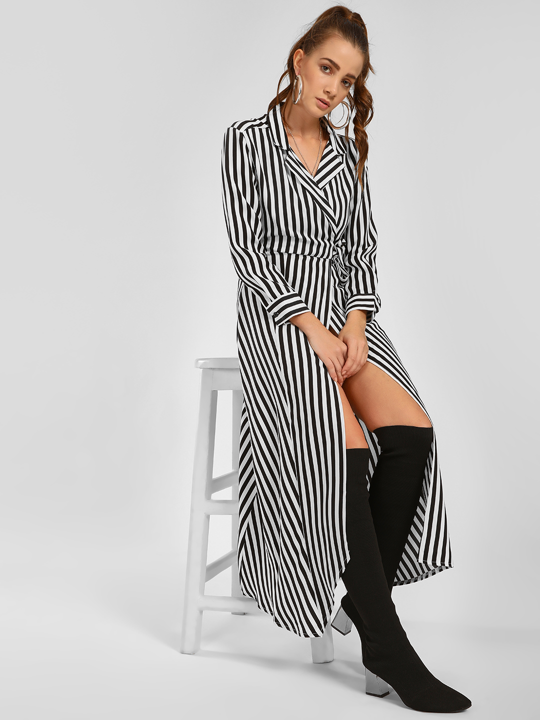 Foreva Young Multi Striped Wrap Shirt Dress 1