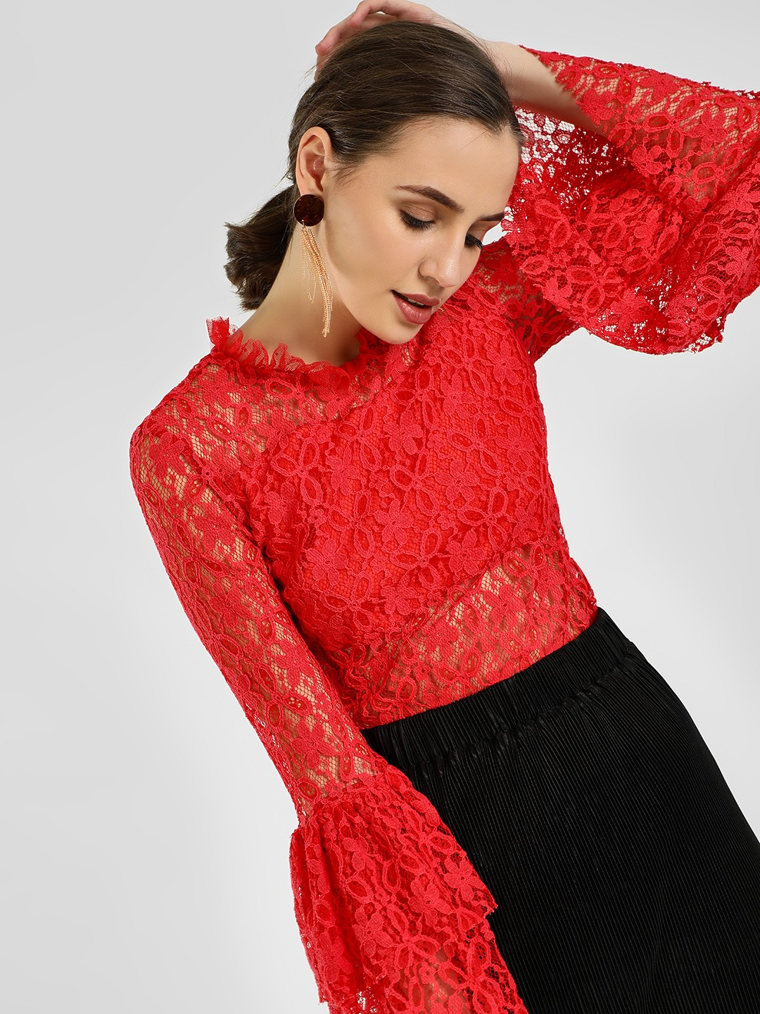 KOOVS Red Lace Bell Sleeve Bodysuit 1