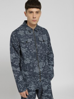 KOOVS Floral Print Zip-Up Jacket