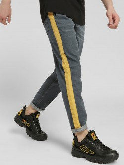K Denim KOOVS Contrast Side Tape Straight Jeans