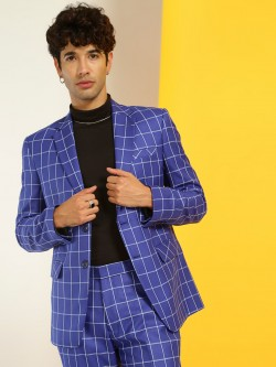 KOOVS Windowpane Check Slim Fit Blazer
