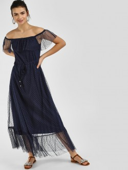Cover Story Polka Mesh Maxi Dress