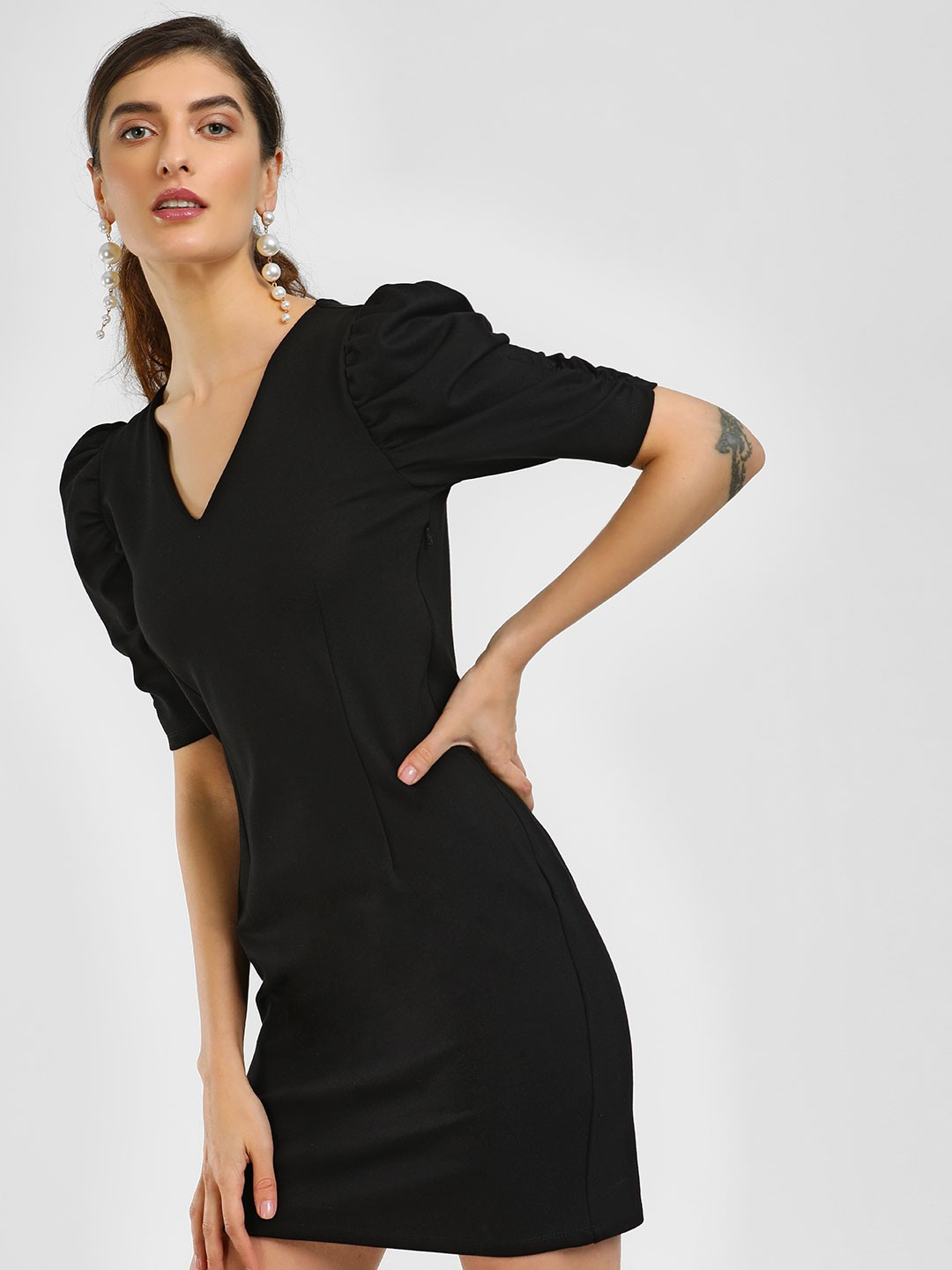 Cover Story Black Puff Sleeve Bodycon Dress 1
