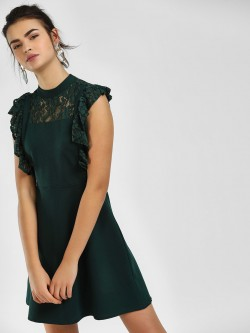 Cover Story Lace Ruffle Neck Skater Dress