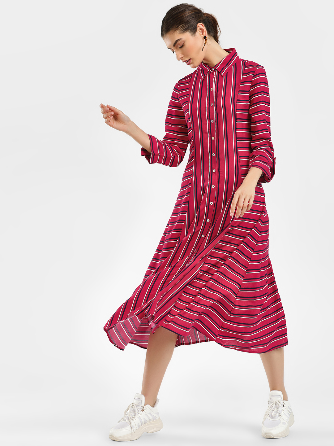 Cover Story Red Striped Midi Dress 1
