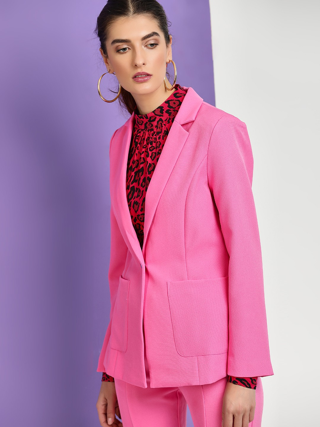 Cover Story Pink Long Sleeve Casual Blazer 1