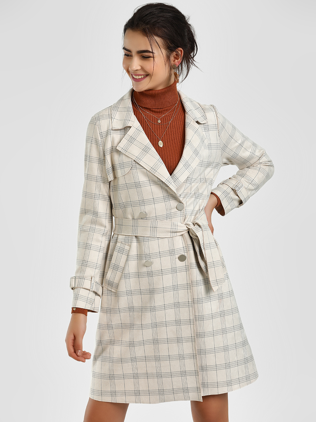Cover Story Beige Multi-Check Belted Coat 1