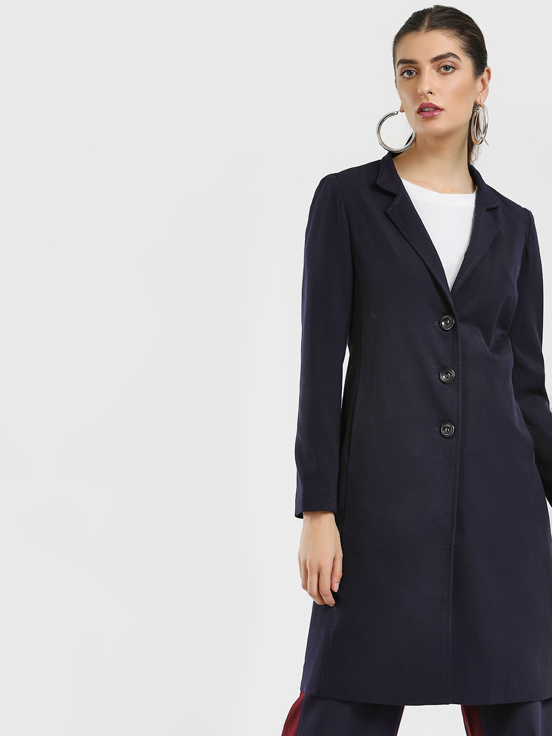 Cover Story Navy Blue Lapel Collar Longline Coat 1
