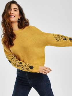 Cover Story Floral Embroidered Sleeve Pullover