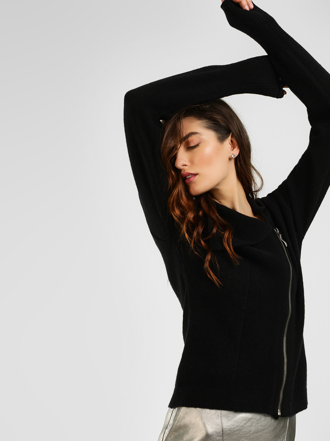 Cover Story Black Lightweight Ribbed Zip-Up Cardigan 1