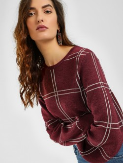 Cover Story Windowpane Check Ribbed Pullover