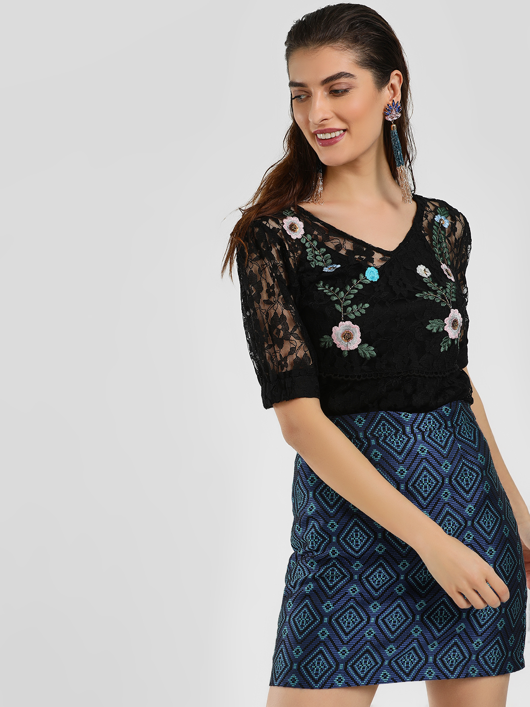 Cover Story Black Lace Floral Embroidered Blouse 1