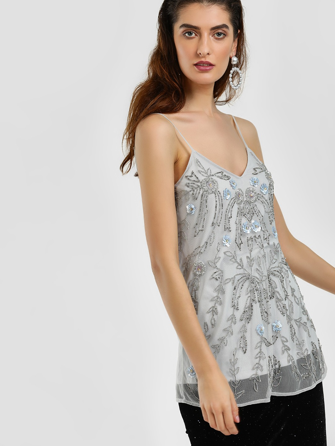 Cover Story PALE BLUE Sequin Embellished Mesh Cami Top 1