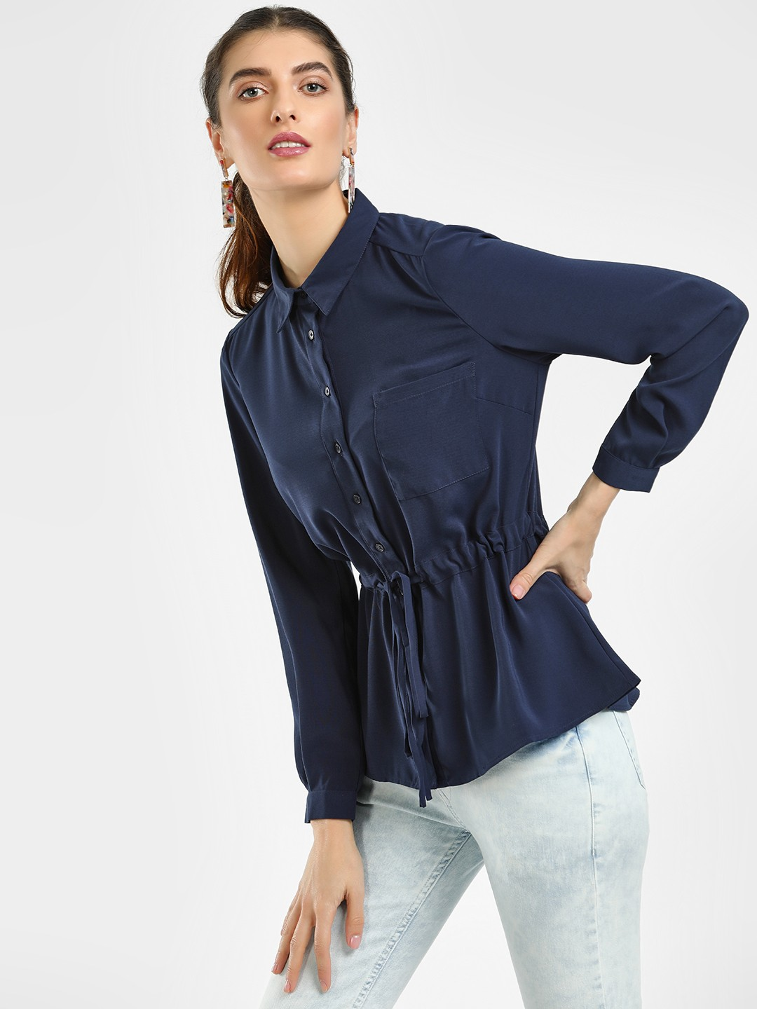Cover Story Blue Front Tie-Up Long Sleeve Shirt 1
