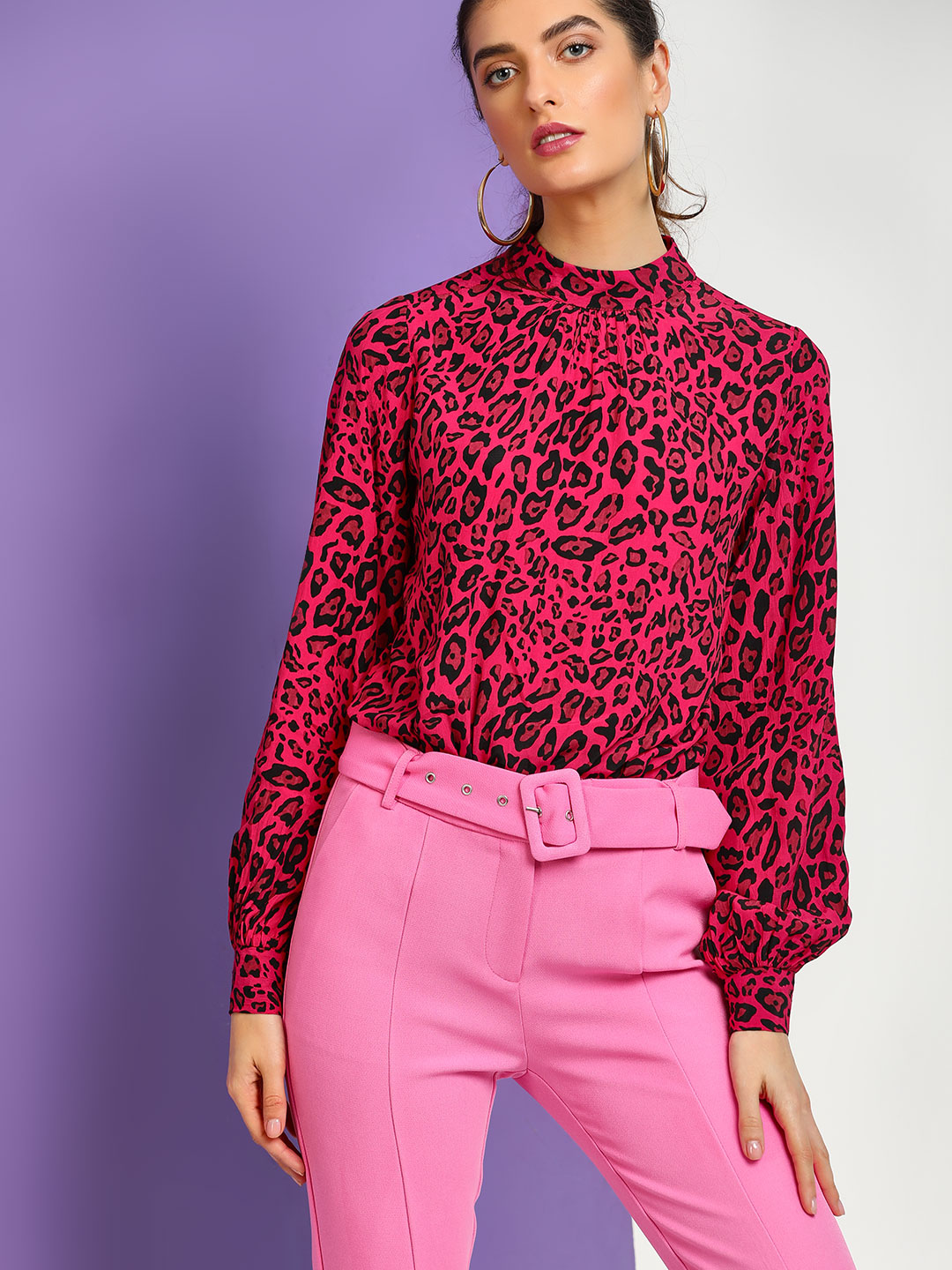 Cover Story Pink Leopard Print Long Sleeve Blouse 1