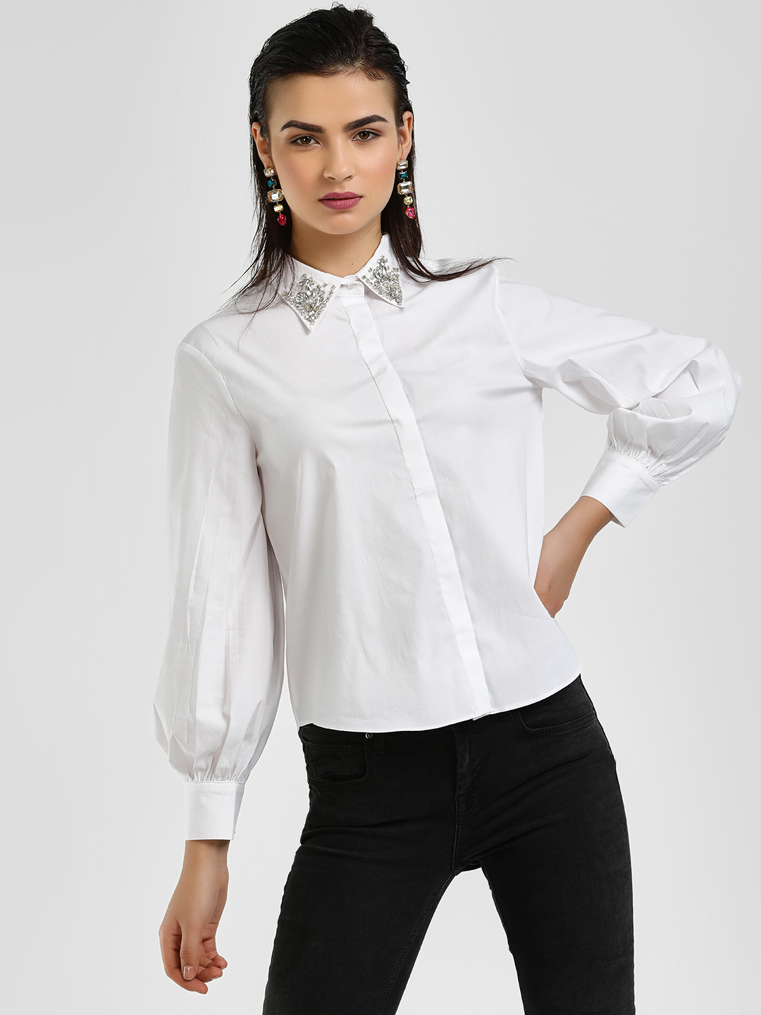 Cover Story White Diamante Embellished Collar Shirt 1