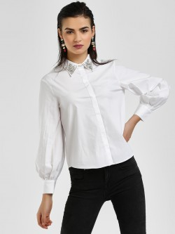 Cover Story Diamante Embellished Collar Shirt