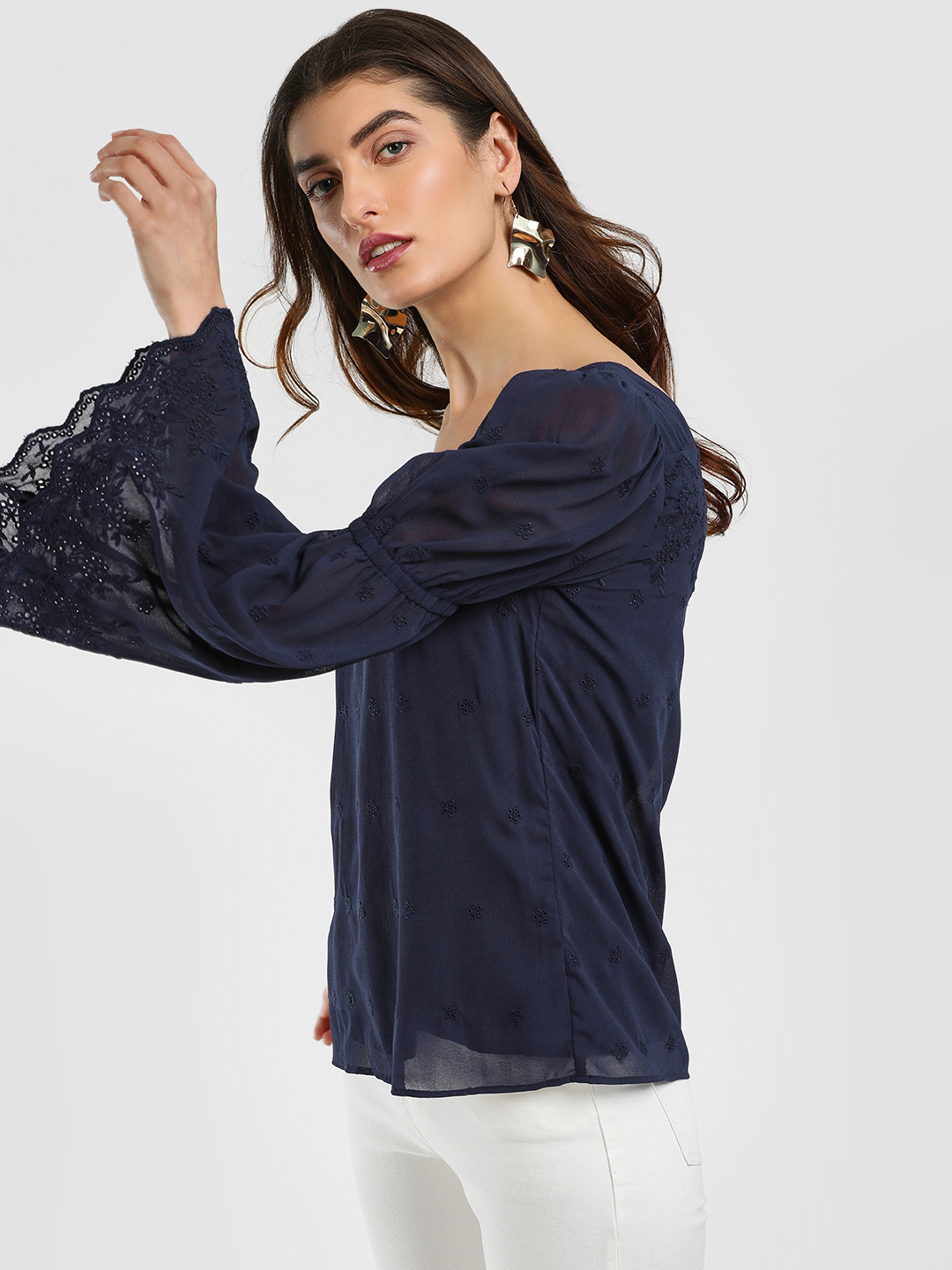 Cover Story Blue Square Neck Flared Sleeve Blouse 1