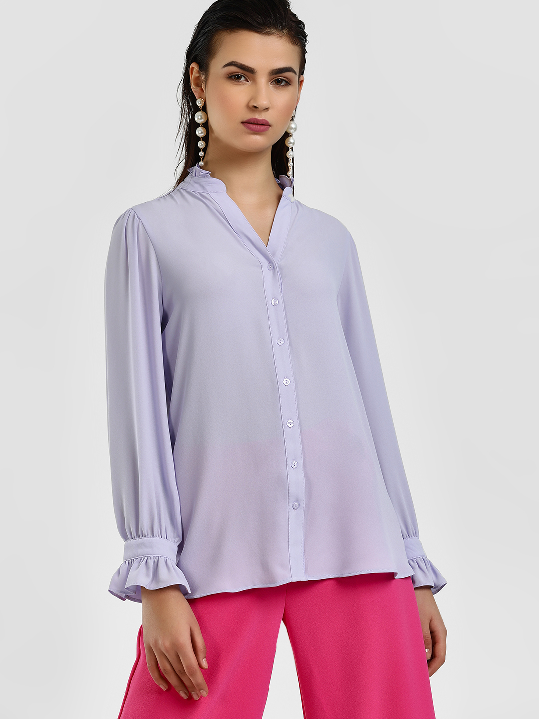 Cover Story Lilac Ruflle Detail Casual Shirt 1