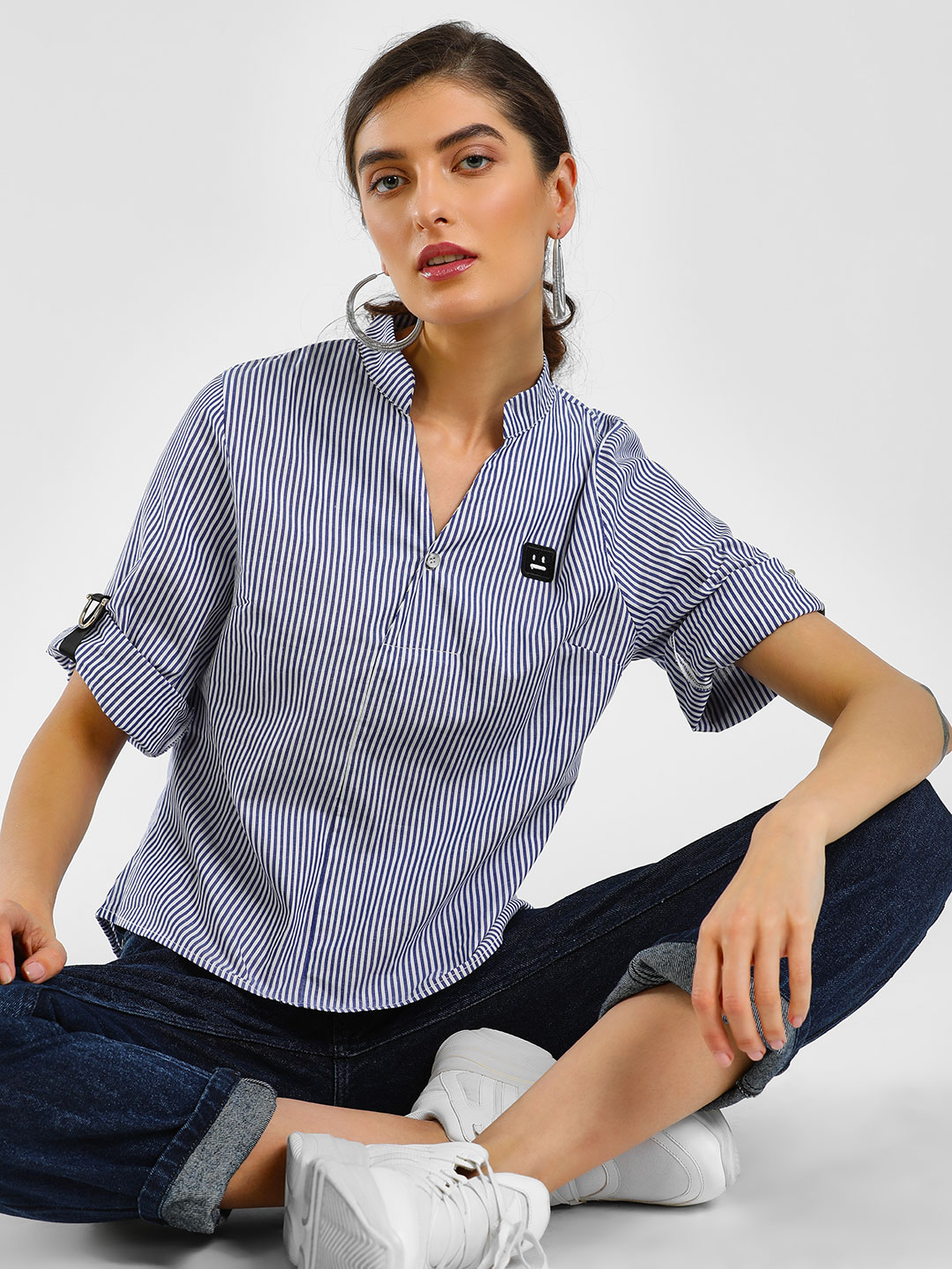 Cover Story Blue Striped High Low Shirt 1