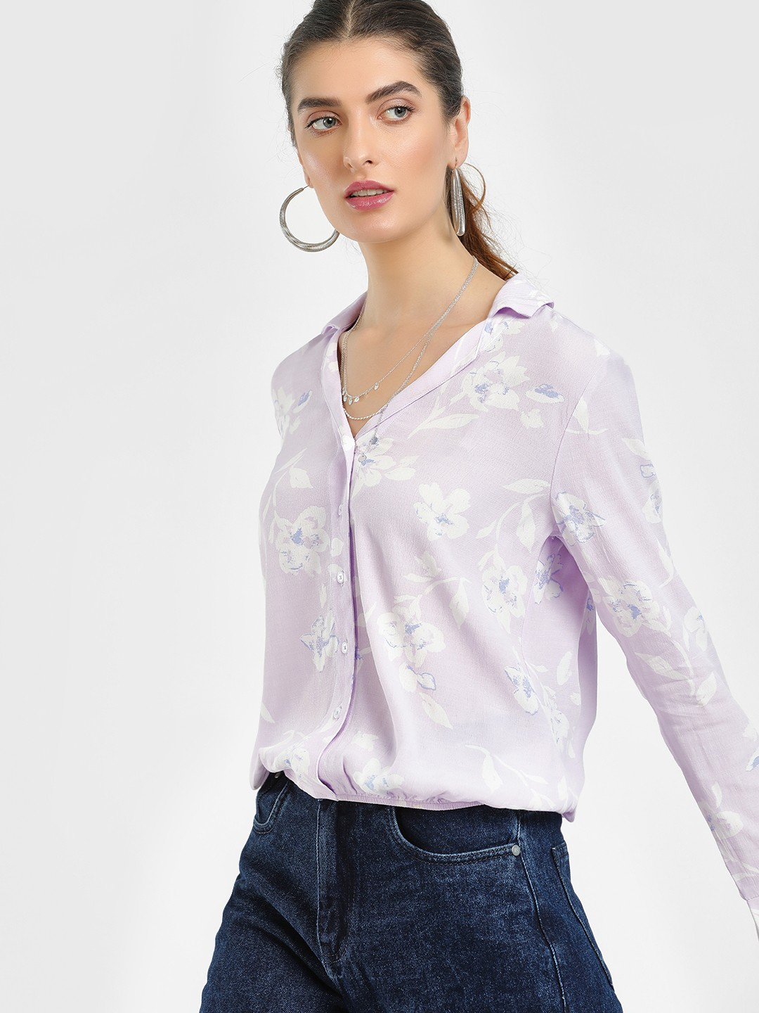 Cover Story Lilac Floral Print Blouson Shirt 1