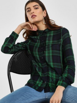 Cover Story Multi-Check High Low Shirt