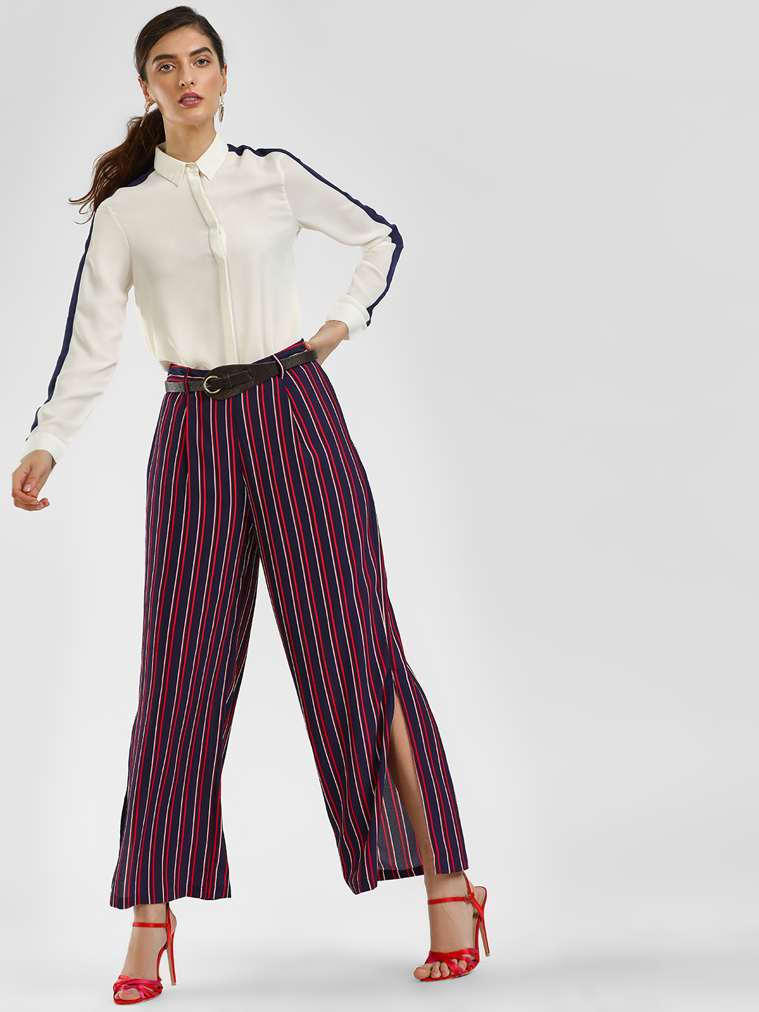 Cover Story Multicolor Striped Split Side Trousers 1
