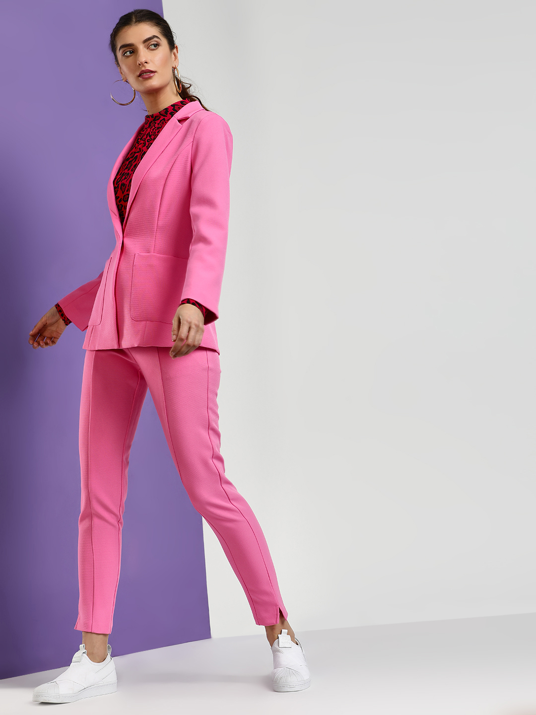 Cover Story Pink Basic Slim Fit Trousers 1