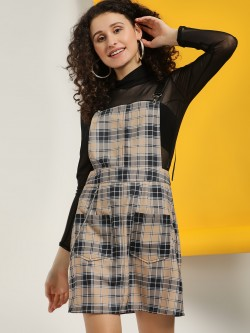 KOOVS Plaid Check Pinafore Dress