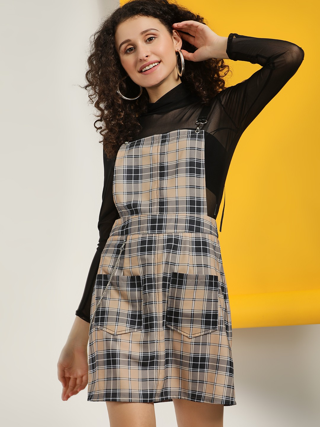 KOOVS Multi Plaid Check Pinafore Dress 1
