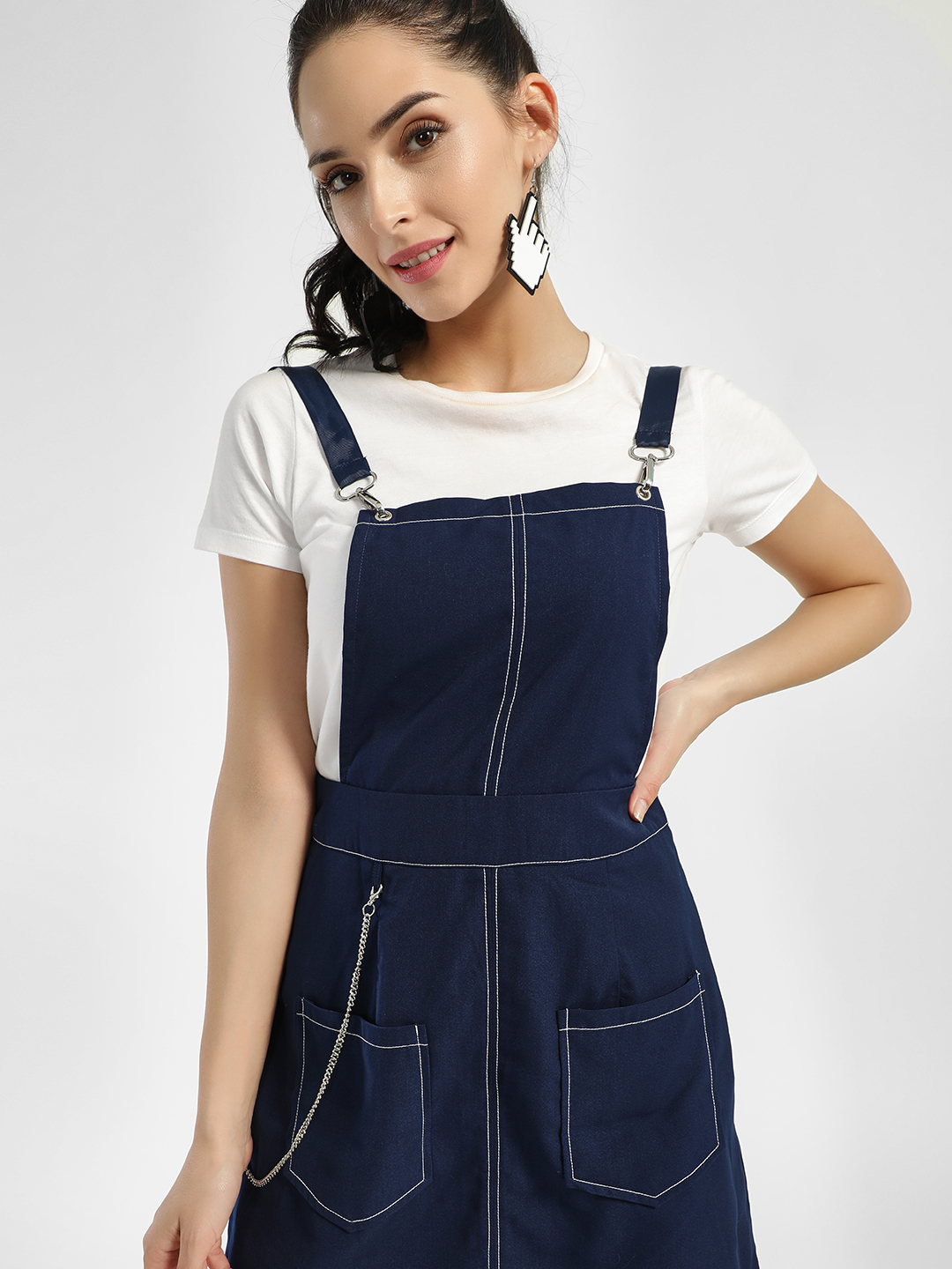 KOOVS Navy Chain Detail Pinafore Dress 1