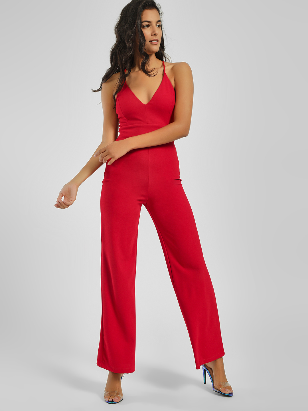 Iris Red Scalloped Lace Back Strappy Jumpsuit 1